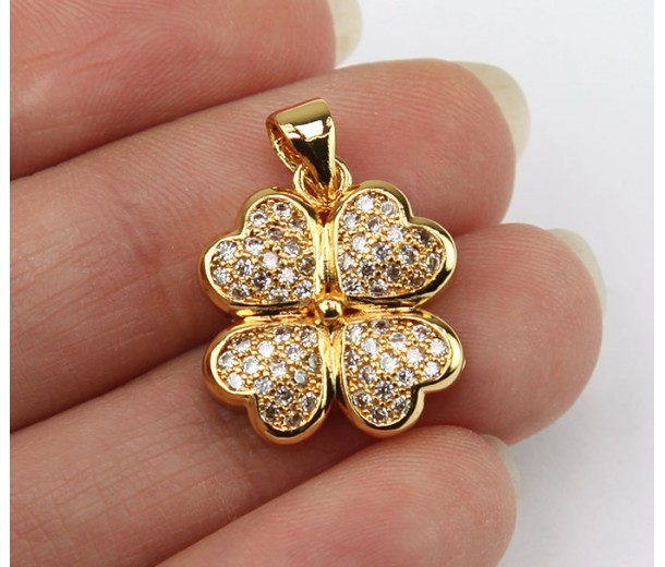 18mm Lucky Clover Cubic Zirconia Pendants, Gold Tone
