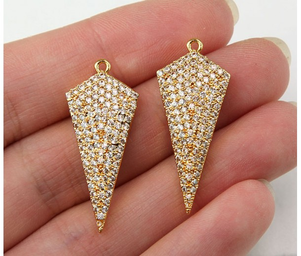 30x13mm Kite Cubic Zirconia Pendants, Gold Tone