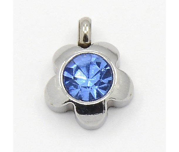 9mm Flower Stainless Steel Rhinestone Charms, Light Blue, Pack of 5
