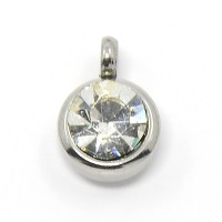 9mm Round Stainless Steel Rhinestone Charms, Crystal