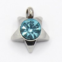 9mm Star Stainless Steel Rhinestone Charms, Aquamarine, Pack of 5