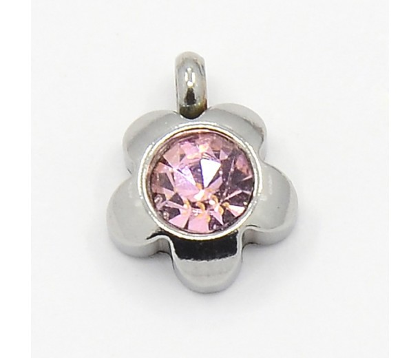 9mm Flower Stainless Steel Rhinestone Charms, Light Rose, Pack of 5
