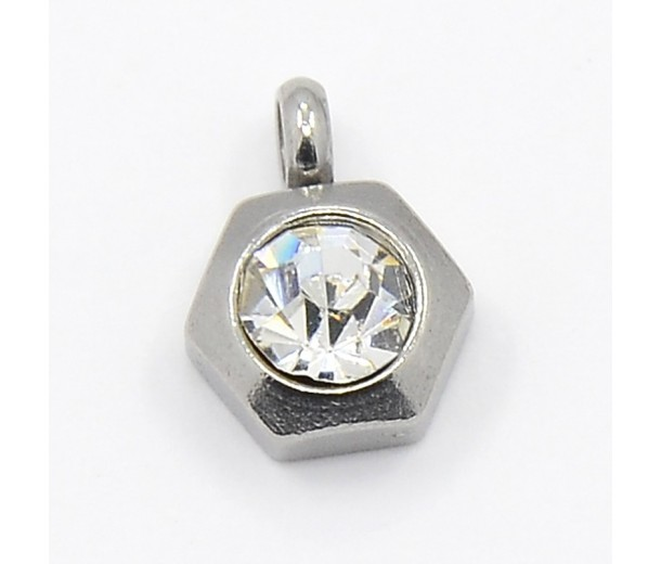 9mm Hexagon Stainless Steel Rhinestone Charms, Crystal, Pack of 5