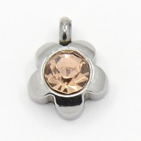 9mm Flower Stainless Steel Rhinestone Charms, Topaz, Pack of 5