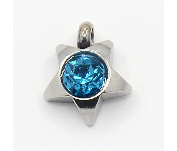 9mm Star Stainless Steel Rhinestone Charms, Blue Zircon, Pack of 5