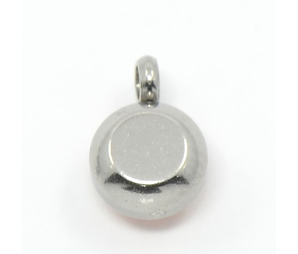 9mm Round Stainless Steel Rhinestone Charms, Sapphire, Pack of 5