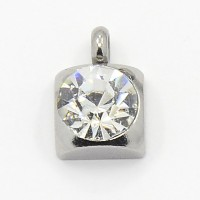 9mm Stainless Steel Rhinestone Square Charms, Crystal, Pack of 5