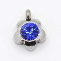 9mm Flower Stainless Steel Rhinestone Charms, Sapphire, Pack of 5