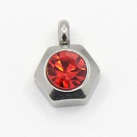 9mm Hexagon Stainless Steel Rhinestone Charms, Light Siam, Pack of 5