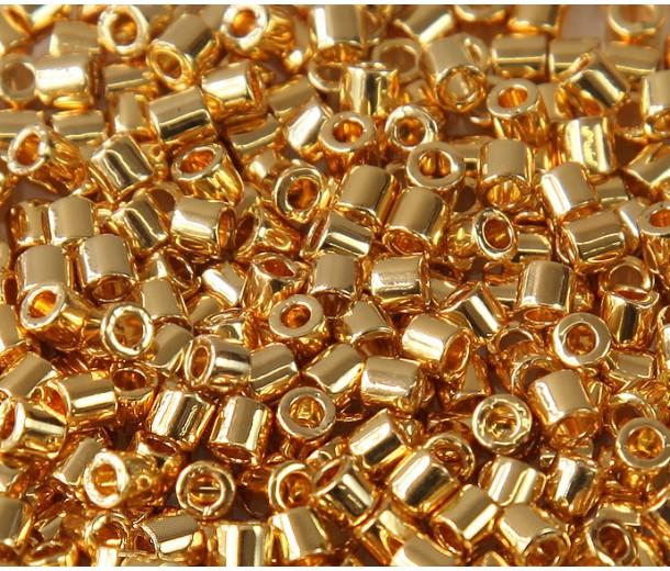 8/0 Miyuki Delica Seed Beads, 24K Gold Plated, 5 Gram Bag