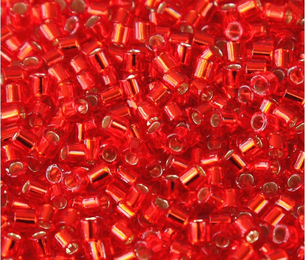 8/0 Miyuki Delica Seed Beads, Silver Lined Red, 10 Gram Bag