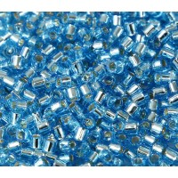 8/0 Miyuki Delica Seed Beads, Silver Lined Turquoise, 10 Gram Bag