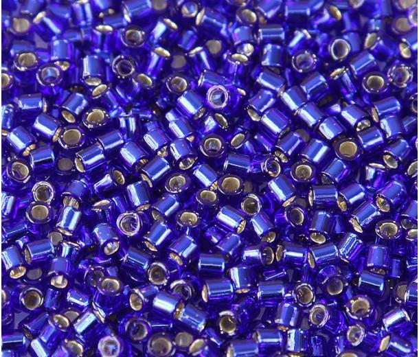 8/0 Miyuki Delica Seed Beads, Silver Lined Blue, 10 Gram Bag