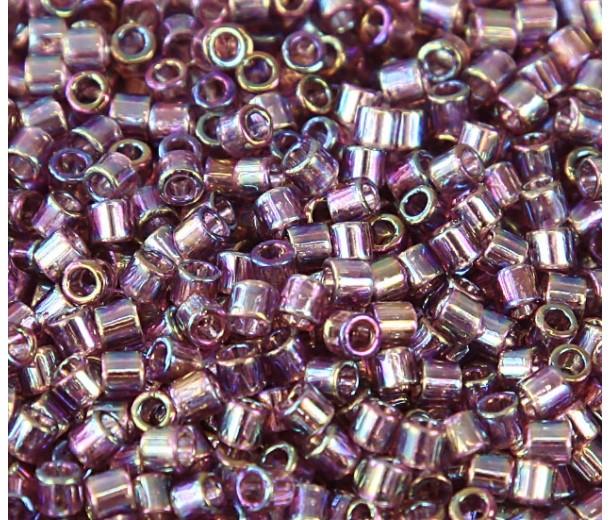 8/0 Miyuki Delica Seed Beads, Rainbow Amethyst, 10 Gram Bag
