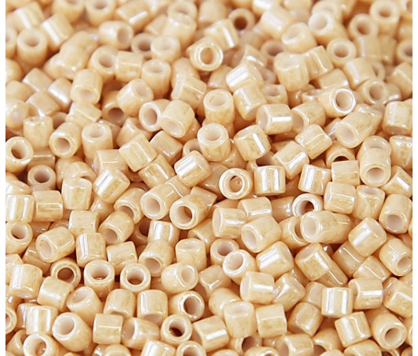 8/0 Miyuki Delica Seed Beads, Opaque Beige Luster, 10 Gram Bag