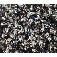 4x7mm Miyuki Long Magatama Beads, Transparent Chrome, 10 Gram Bag