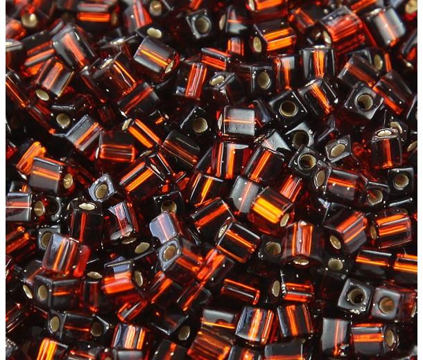 4mm Miyuki Square Beads, Silver Lined Dark Topaz, 10 Gram Bag