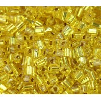 4mm Miyuki Square Beads, Silver Lined Yellow, 10 Gram Bag