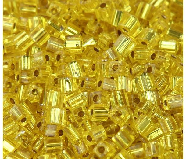 4mm Miyuki Square Beads, Silver Lined Yellow, 10 Gram Bag