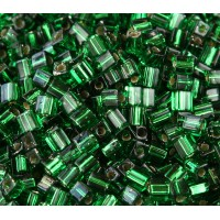 4mm Miyuki Square Beads, Silver Lined Kelly Green, 10 Gram Bag