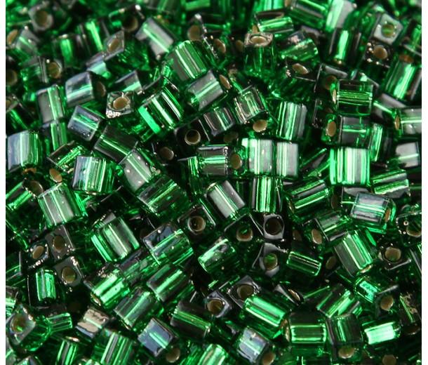 4mm Miyuki Square Beads, Silver Lined Kelly Green, 10 Gram Bag