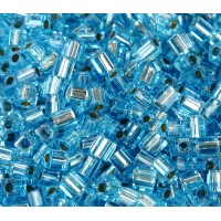 4mm Miyuki Square Beads, Silver Lined Blue Topaz, 10 Gram Bag