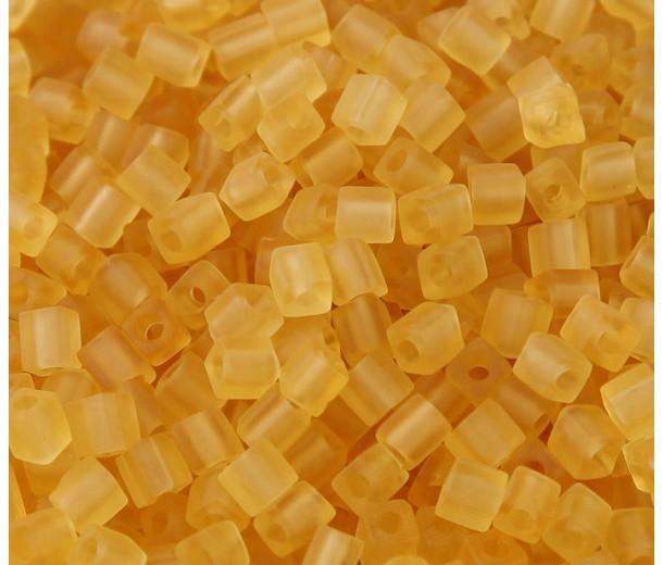 4mm Miyuki Square Beads, Matte Light Gold, 10 Gram Bag