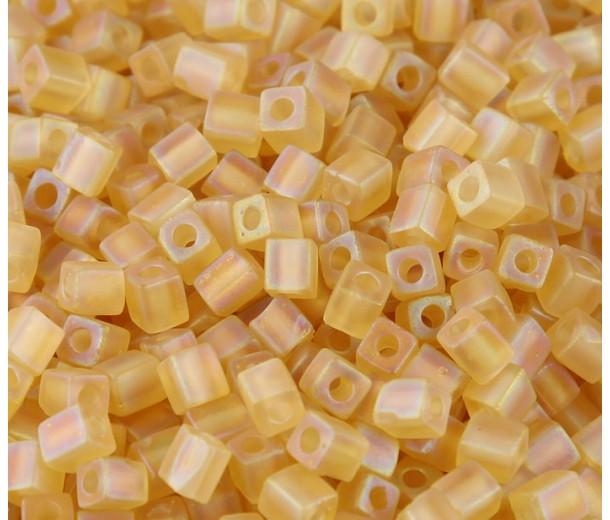4mm Miyuki Square Beads, Matte Rainbow Light Gold, 10 Gram Bag