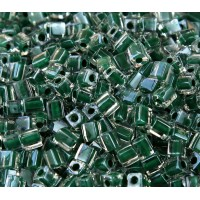 4mm Miyuki Square Beads, Forest Green Lined Crystal, 10 Gram Bag