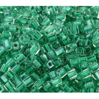 4mm Miyuki Square Beads, Aqua Green Lined Crystal, 10 Gram Bag