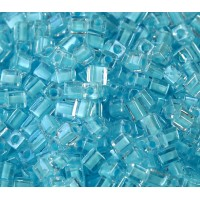 4mm Miyuki Square Beads, Sky Blue Lined Crystal, 10 Gram Bag