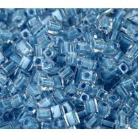 4mm Miyuki Square Beads, Faded Denim Lined Crystal, 10 Gram Bag