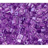 4mm Miyuki Square Beads, Lavender Lined Crystal, 10 Gram Bag