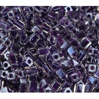 4mm Miyuki Square Beads, Poyal Purple Lined Crystal, 10 Gram Bag