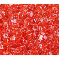 4mm Miyuki Square Beads, Orange Red Lined Crystal, 10 Gram Bag