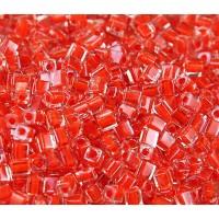 4mm Miyuki Square Beads, Orange Red Lin..