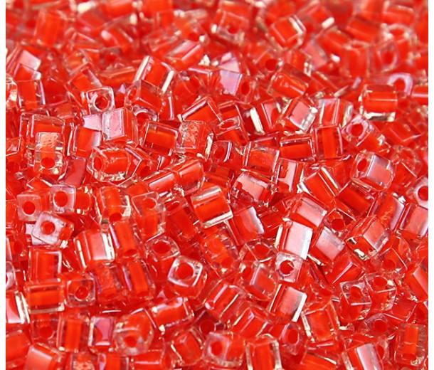4mm Miyuki Square Beads, Orange Red Lined Crystal, 10 Gram Bag