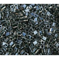 4mm Miyuki Square Beads, Moss Green Lined Crystal