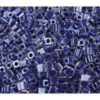 4mm Miyuki Square Beads, Cobalt Blue Lined Crystal, 10 Gram Bag