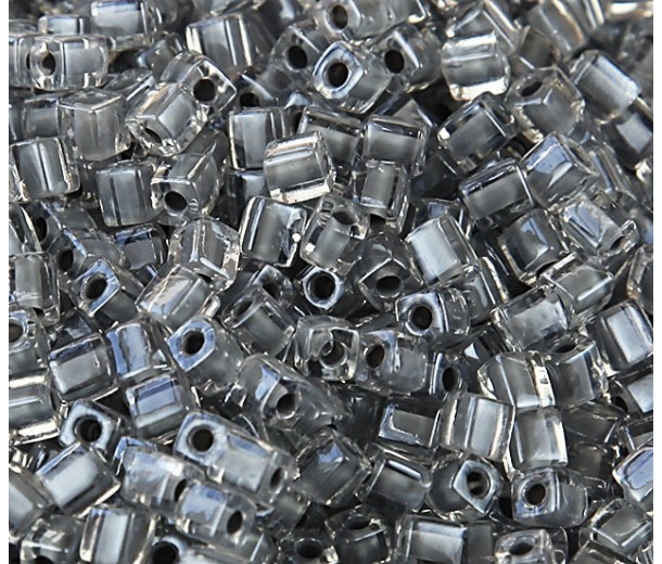 4mm Miyuki Square Beads, Grey Lined Crystal, 10 Gram Bag