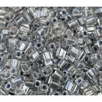 4mm Miyuki Square Beads, Silver Lined Crystal, 10 Gram Bag