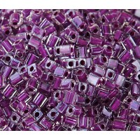 4mm Miyuki Square Beads, Dark Violet Lined Crystal, 10 Gram Bag