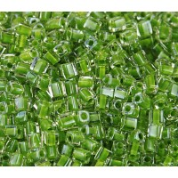 4mm Miyuki Square Beads, Lime Green Lined Crystal, 10 Gram Bag