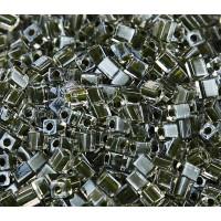 4mm Miyuki Square Beads, Dark Olive Lined Crystal, 10 Gram Bag