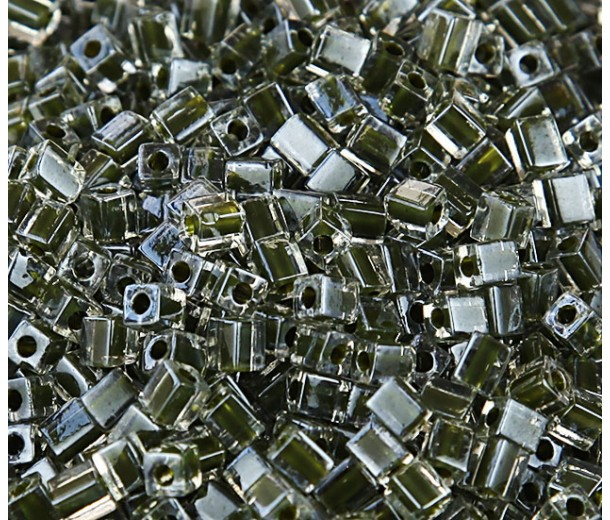 4mm Miyuki Square Beads, Dark Olive Lined Crystal, 10 Gram Bag