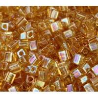 4mm Miyuki Square Beads, Rainbow Light Gold, 10 Gram Bag