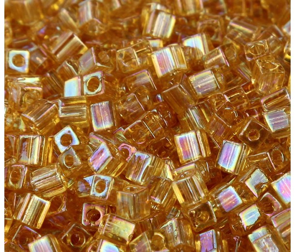 4mm Miyuki Square Beads, Rainbow Light Gold, 10 Gram Bag