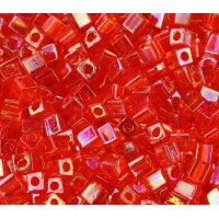 4mm Miyuki Square Beads, Rainbow Orange, 10 Gram Bag