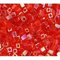 4mm Miyuki Square Beads, Rainbow Orange