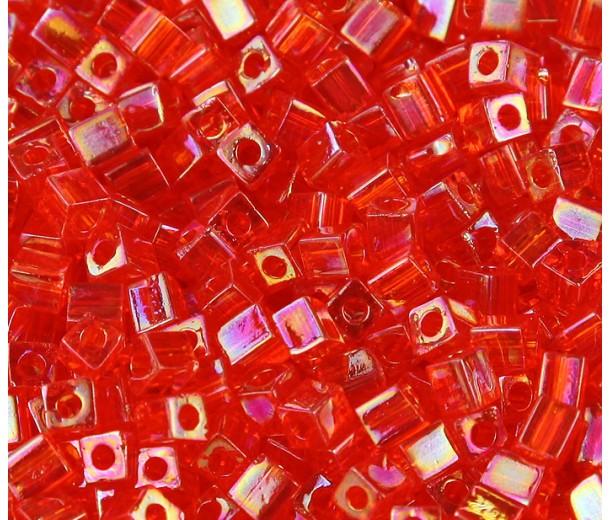 4mm Miyuki Square Beads, Rainbow Orange, 10 Gram Bag
